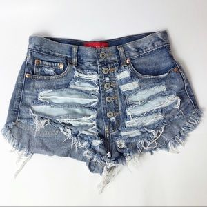 Akira Red Label High Waisted Distressed Shorts